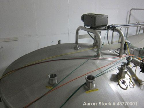 "Used- 6000 gallon SS Single Shell Dome Top & Bottom Vertical Tank; 112"" diameter x 132"" straight side; with vertical agitato..."