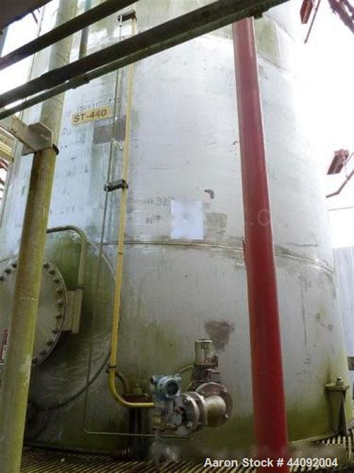 Used- Peluzzo Iron Works 19,450 Gallon 316L Stainless Steel Vertical Storage Tank. 12' Diameter x 23' Straight Side. Flat Bo...