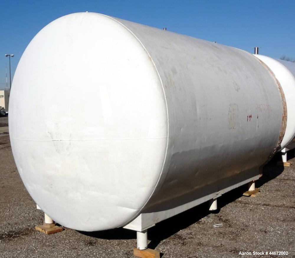 "Used- Storage Tank, 5000 Gallon, 304 Stainless Steel, Horizontal. Approximate 96"" diameter x 144"" straight side, dished head..."
