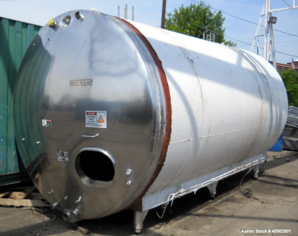 Used- Dairy Tank, 6,000 Gallon, stainless steel, 8' diameter x 16' long, horizontal, dished heads, insulated.