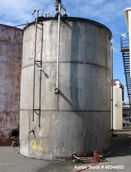 Used - Tank, 20,000 Gallon, 14' diameter x 18' high on straight side. Vertical, Constructed T304 Stainless steel, Flat botto...
