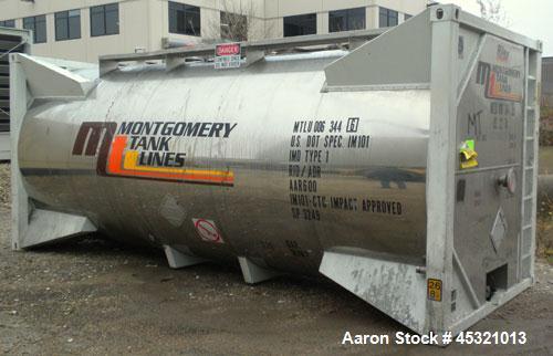 Used- Sunshine Stainless Tank & Equipment Intermodal Transport Tank, 6205 Gallon, 316 Stainless Steel, IMO Type 1. Transport...
