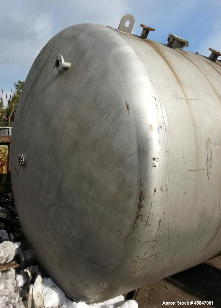 "Used- Tank, Approximately 7,500 Gallon, 316 Stainless Steel, Horizontal. 107"" diameter x 18' 10"" OAL. Dished heads. 24"" diam..."