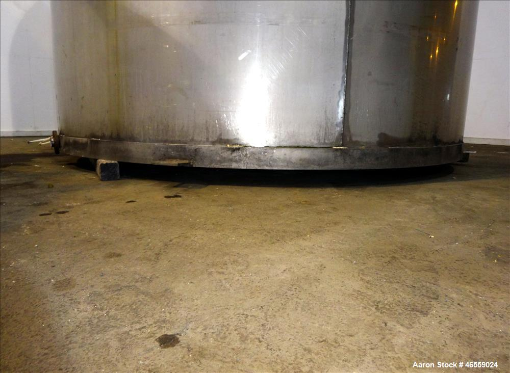 "Used- Tank, 9,000 Gallon, 304 Stainless Steel, Vertical. Approximate 120"" diameter x 202"" straight side, approximate 1"" slop..."