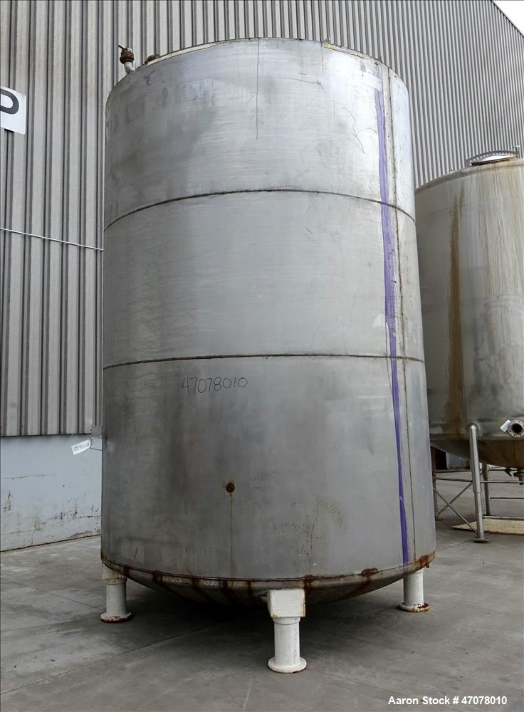 Used- Tank, Approximate 6,500 Gallon, 304 Stainless Steel, Vertical.