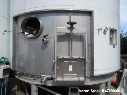 Used- 7,200 Gallon Stainless Steel Tank. Approximately 14' tall (with stands approximately 17'), 10' diameter, 2 x 4ft. jack...