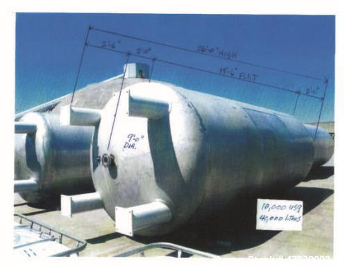 "Used- Approximately 10,000 Gallon 304SS Vertical Storage Tank. Approximately 9' diameter x 19'6"" straight side. 26' overall ..."