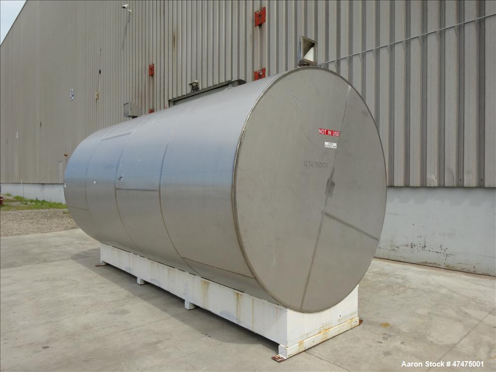 Used- Tank, 6000 Gallon, 304 Stainless Steel, Horizontal.