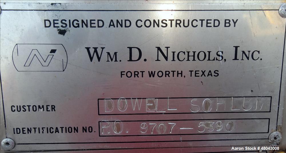 Used- Wm. D. Nichols inc. Storage Tank, 6,000 Gallon, 316 Stainless Steel, Verti
