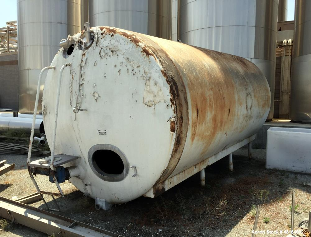 """Used- Tank, 6,000 Gallon, Stainless Steel, Horizontal. Approximate 108"""" diameter x 196"""" straights side, dished heads. Side e..."""
