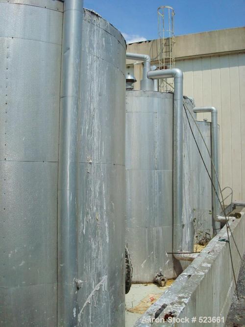 USED: 7,500 gallon, 304 stainless steel, vertical tank. Slight dishtop, flat bottom, 10' diameter x 13' overall height, insu...