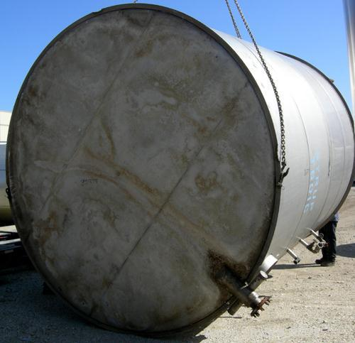 USED: Tank, 10,000 gallon, 304 stainless steel, vertical. Approximate 11' diameter x 14' straight side. Coned top, sloped bo...