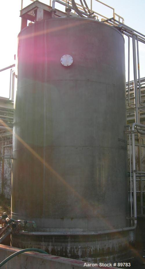 "USED: Approximate 15,000 gallon stainless steel mix tank. Approximate 11'6"" diameter x 18' straight side. Skirt mounted. Dis..."
