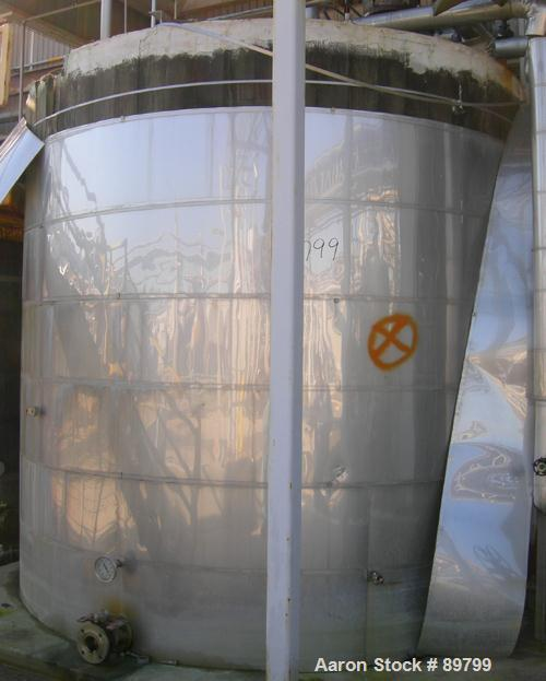 "USED: Approximate 6,000 gallon stainless steel storage tank. Flat top and bottom. 10' diameter x 10' straight side. 3"" side ..."