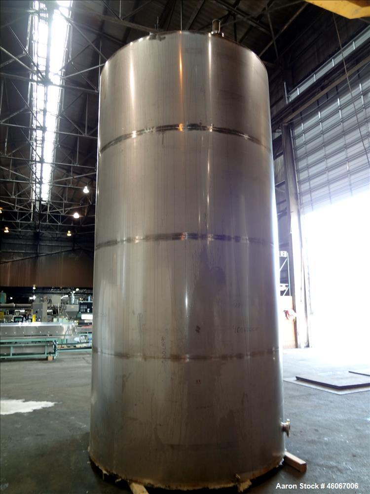 """Used- Acme Industrial Tank, 6000 Gallon, 304 Stainless Steel, Vertical. Approximate 192"""" Straight Side x 96"""" Diameter. Parti..."""