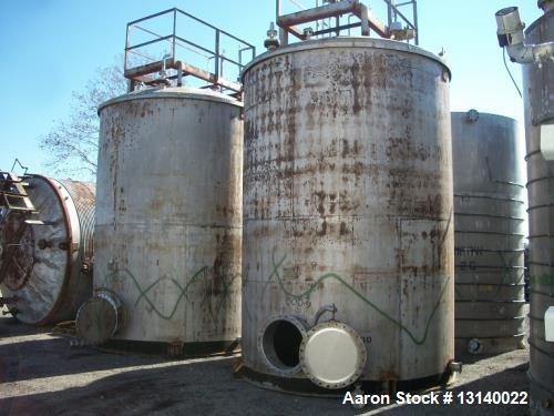 "Used- Alloy Fabricators Vertical Storage Tank. Approximately 8,000 gallon, 304 stainless steel. 10' diameter x 14'-3"" high s..."