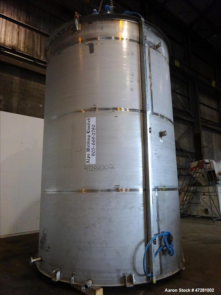 """Used- ALPS Welding Limited Tank, 43,000 Liters / 11,360 Gallons, 304L Stainless Steel, Vertical. Approximate 130"""" diameter x..."""