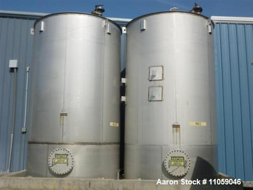Used- Bendel 10,000 Gallon Vertical Storage Tank. 316 stainless steel, flat bottom, dished top.