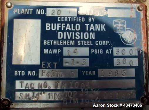 """Used- Buffalo Pressure Tank, 10,000 Gallon, 304 Stainless Steel, Vertical. Approximate 120"""" diameter x 188"""" straight side, d..."""