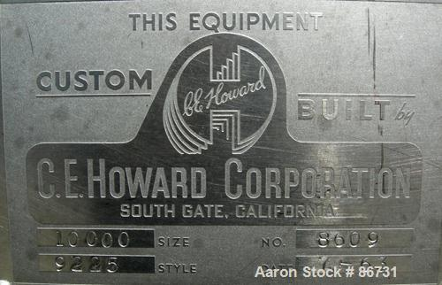 """USED: C E Howard tank, 10,000 gallon, 304 stainless steel, horizontal. 110"""" diameter x 245"""" straight side, dished heads. App..."""