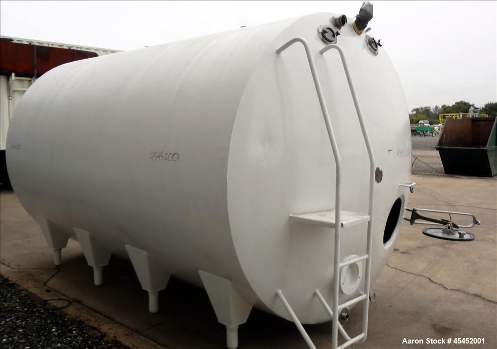 "Used- Cherry Burrel Tank, 5000 Gallon, Model DHP, 304 Stainless Steel, Horizontal. 96"" diameter x 152"" straight side, dished..."
