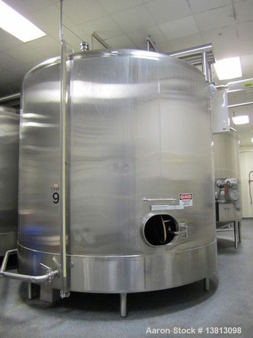 "Used-Cherry Burrell 8000 Gallon Vertical Stainless Steel Tank.Top mounted agitator, side manway, sightglass, 3"" sloped botto..."