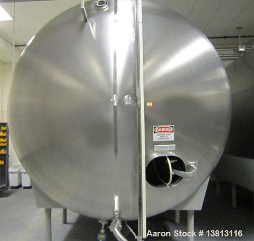 Used-Cherry Burrell 8,000 Gallon Horizontal Stainless Steel Tank.  End mount agitator approximately 5 hp.  Manway with cover...