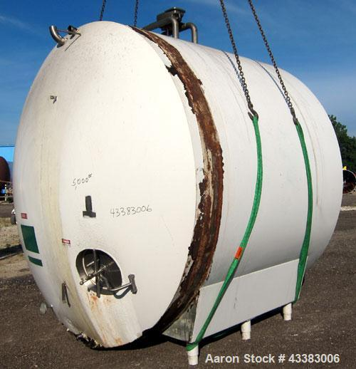 "Used- Cherry Burrell Storage Tank, 5000 Gallon, 304 Stainless Steel, Horizontal. 120"" Diameter x 84"" straight side, dished h..."