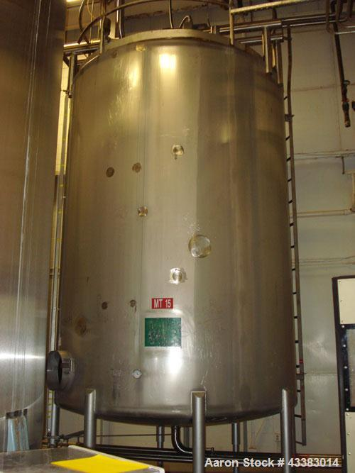 Used- Mueller 6000 Gallon Stainless Steel Mix Tank. Model F 6000. Approx. 9' Diameter x 12' Straight Side. Dished Heads. Sid...