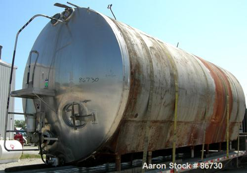 """USED: Cherry Burrell tank, model EH, 10,000 gallons, 304 stainless steel, horizontal. 110"""" diameter x 243"""" straight side, di..."""
