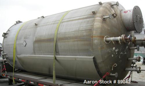 """USED: Chicago Boiler tank, 6000 gallon, 316 stainless steel, vertical. Approximately 96"""" diameter x 16' straight side, dish ..."""