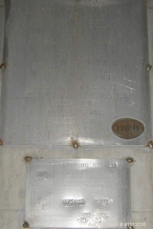 "Used- Clawson Tank Company Pressure Tank, 12,000 gallons, 304L stainless steel, horizontal.  125-1/2"" diameter x 222"" straig..."