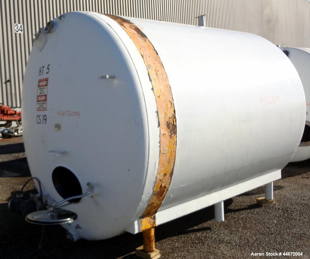 "Used- Creamery Package Storage Tank, 5000 Gallon, 304 Stainless Steel, Horizontal. Approximate 108"" diameter x 116"" straight..."