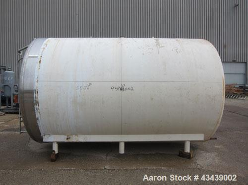 "Used- Crepaco Storage Tank, 5000 Gallon, 316 Stainless Steel, Horizontal. 96"" Diameter x 144"" straight side, dished heads. (..."