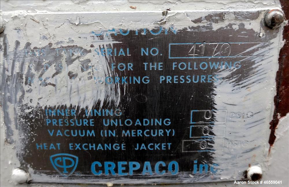 """Used- Crepaco Industries Tank, Approximately 10,000 gallon, 304 Stainless Steel, Horizontal. Approximate 124"""" diameter x 196..."""