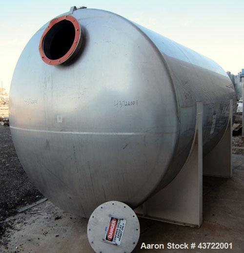 "Used- Custom Metalcraft Tank, 5000 Gallon, 304 Stainless Steel, Horizontal. Approximately 96"" diameter x 144"" straight side,..."