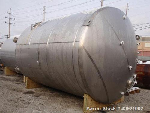 "Used- 10000 gallon DCI storage tank, 316L stainless  steel construction, 132"" inner diameter x 160"" straight side, dish top ..."