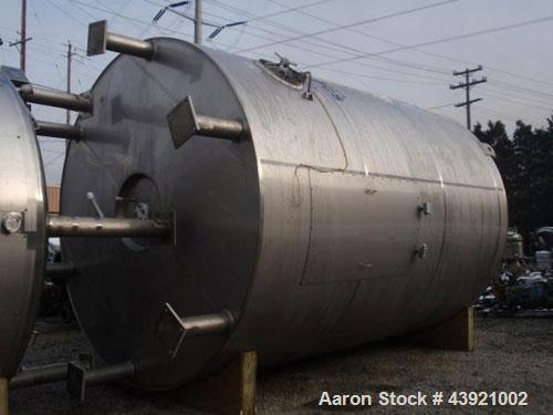 """Used- 10000 gallon DCI storage tank, 316L stainless  steel construction, 132"""" inner diameter x 160"""" straight side, dish top ..."""
