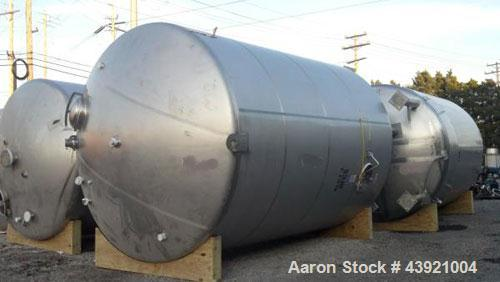 "Used- 10000 Gallon DCI Storage Tank, 316L stainless  steel construction.  132"" Inner diameter x 160"" straight side, dish top..."