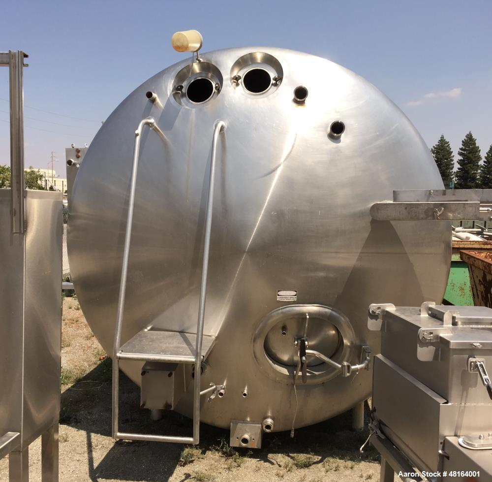 Used- Damrow Tank, 6,000 Gallon, Model# 4, Stainless Steel, Horizontal.