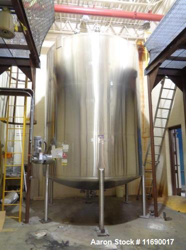 Used- DCI 6000 Gallon Stainless Steel Agitated Tank. 2hp side entering agitator, dished bottom with outlet, dished top with ...