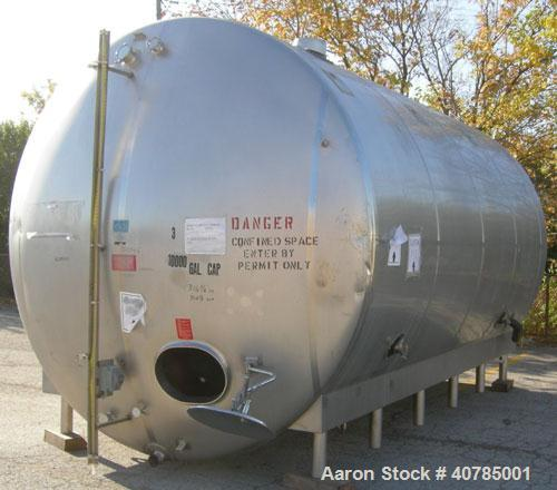 "Used- DCI 316L stainless steel storage tank, 10,000 gallon capacity, horizontal design. 120"" inside diameter x 204"" straight..."