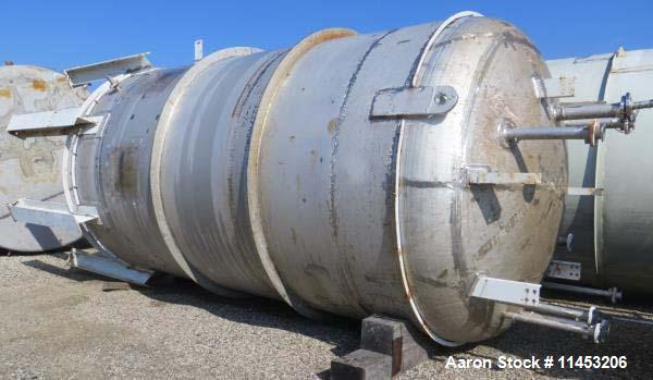 Used-10,000 Gallon DKME Pressure Tank, 316 stainless steel, approimately 10' diameter x 16' straight side, dish top and bott...