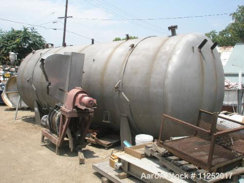 Used-Stainless Steel Tank, 7,500 gallon capacity. 8' Diameter x 19' straight side, dished ends, horizontal orientation. Manu...