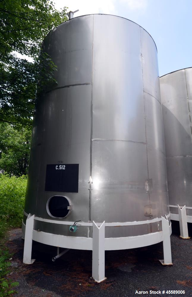 Used 15000 Gallon Douglas Brothers 304 Stainless Steel Vertical Tank