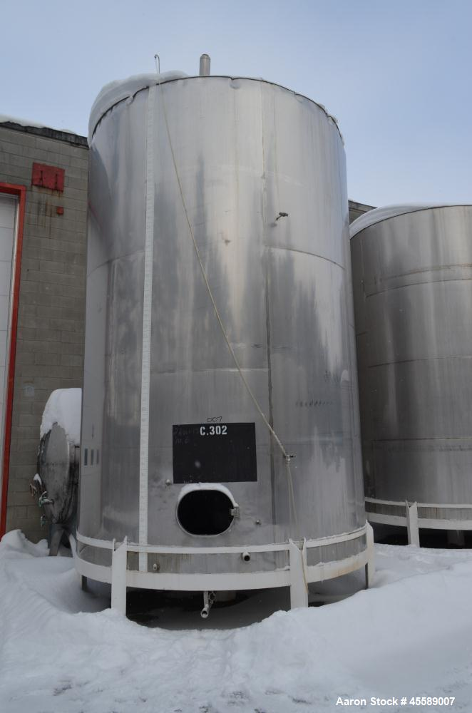 Used 11500 Gallon Douglas Brothers 304 Stainless Steel Vertical Tank