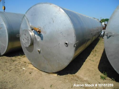 "Used-Eisenback 6,000 Gallon Stainless Steel Vertical Storage Tank. 304 stainless steel. Flat bottom, dished head, 6' 8"" diam..."