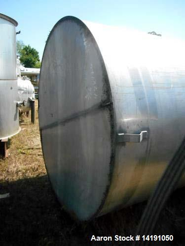 """Used- Eisenback 6,000 Gallon Stainless Steel Vertical Storage Tank. 304 stainless steel. Flat bottom, dished head, 6' 8"""" dia..."""