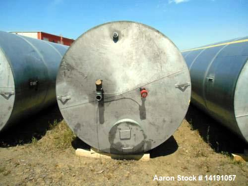 Used- Eisenback 6,000 Gallon Stainless Steel Vertical Storage Tank. 304 stainless steel. Flat bottom, dished head, 8' Diamet...