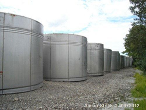 """Used- Ellet Tank, approximately 13,000 gallon, 304 stainless steel, vertical. 14'6"""" diameter x 10'6"""" straight side. Flat top..."""